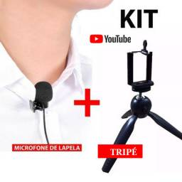 Kit Microfone Lapela + Mini Tripé Gravação Celular Youtube