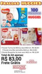 100 Fraldas Descartáveis Tamanho M Huggies, xtra-flex vermelha, Turma da Mônica, Roupinha