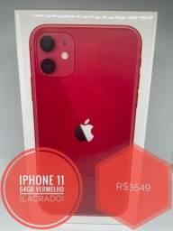 Título do anúncio: Iphone 11 64GB Vermelho Lacrado (Nota Fiscal/1 Ano de Garantia Apple)