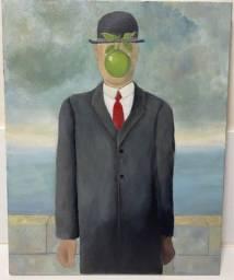 """Tela á óleo, pintada á mão, releitura de René Magritte """"O filho do homem"""""""