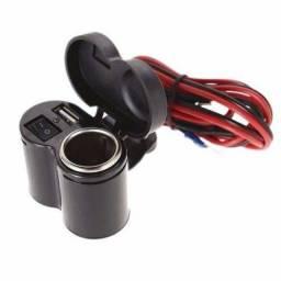 Carregador Usb P/ Moto Celular Gps Acendedor Cigarro