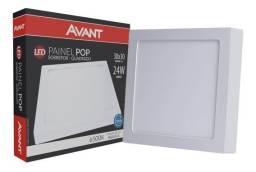 Painel Plafon Led 24w Sobrepor Quadrado Branco Frio 30x30cm