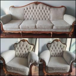 Título do anúncio: Conjunto de sofá antigo Luís xv/Luiz xv