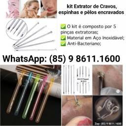 Kit Extrator de Cravos, Espinhas e Pêlos Encravados
