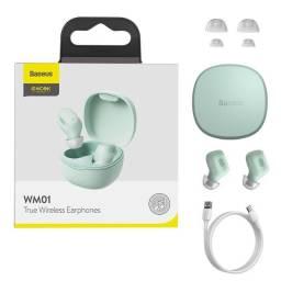 Título do anúncio: Fone de Ouvido Sem Fio Tws Baseus Encok Wm01 - Verde - Bluetooth 5.0
