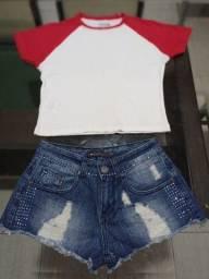 T-shirt P e short jeans 34