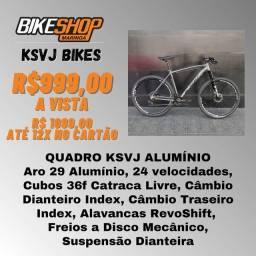 Promoção Bicicleta Alumínio KSVJ - Freios a Disco - 24 marchas