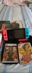 Nintendo Switch com todos acessórios completo 32G com 3 jogos
