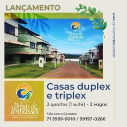 Casas Duplex, 89m² 3/4 com 1 suíte e 3 vagas - Brisas de Imbassaí