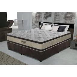 Conjunto cama box queen Gazin de molas ensacadas Paris Gold