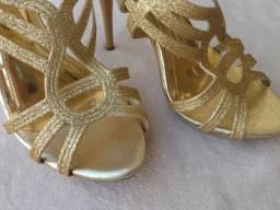 Sandália Dourada Glitter