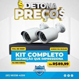 Título do anúncio: Kit 2 Câmeras Fullhd 12x de R$ 89,99 Sem Juros (Brinde Microfone Espião)