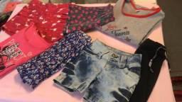 Lote de roupinhas 10/12 anos - saias blusa camisetas e shorts - 7 peças - preço do lote