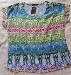 Blusa leve estampada tipo TieDie n.36. Nova