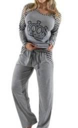 Pijama cinza feminino adulto tam M R$46,90