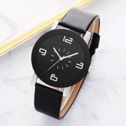 Relógio feminino Pulseira em couro sintético Preto