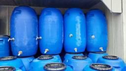 JR Tambores - Cisterna Coleta Àgua - Tambor 250 Litros Com Torneira e Registro