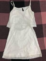 Vestido de paetê branco