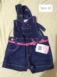 Jardineira jeans menina