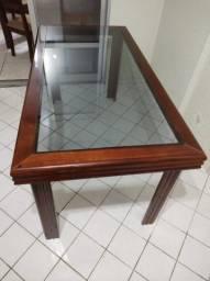 Mesa Jantar Mogno com Tampo de Vidro Embutido (sem cadeiras)