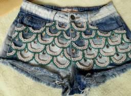 Shorts Jeans Bordados