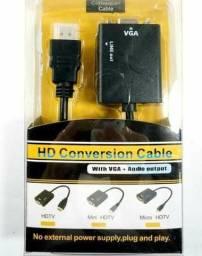 Conversor adaptador Hdmi para VGA com áudio