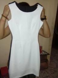 Vestido social preto e branco