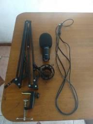 Microfone Condensador Am-black-1( BKU-01) USB + Pedestal de Mesa Articulado