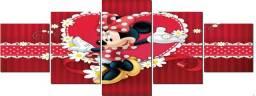 Quadro em Mosaico Minnie Coração Mdf 5pçs Infantil Menina Quarto Facil Instalação