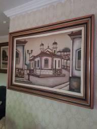 Quadro pintura a óleo com moldura de  1 metro
