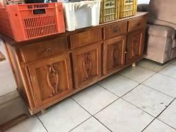 Balcão + estante em madeira pura antigo 2 partes
