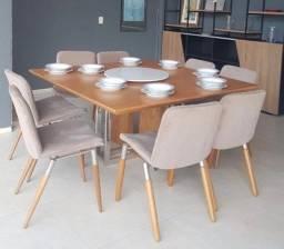 Mesa de Jantar c/ 8 Cadeiras estofada Seminova