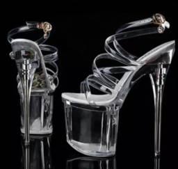 Sandália Salto Alto Cristal 17cm
