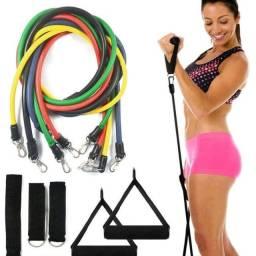 Título do anúncio: Kit Elástico Extensor Crossband 11 Peças Multifuncional Exercício Academia Treino Fitness