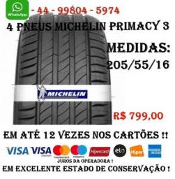 4 Pneus Michelin Aro 16 - Primacy - 205/55 R16  Quase Novos !!