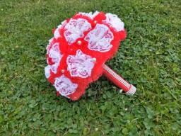 Buquê de Noiva Artesanal Vermelho e Branco