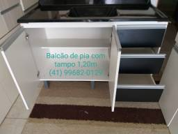 Pia Balcão de pia 1,20m com tampo de marmorite