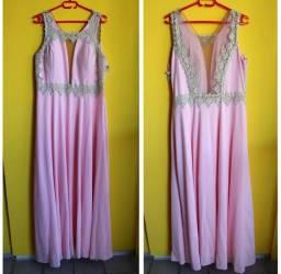 Vestido festa rosa com bordado