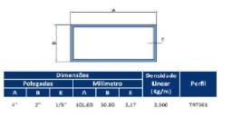 """Tubo de alumínio retangular 4"""" x 2"""" x 1/8"""" parede, liga 6351 T6 09 mt a barra"""