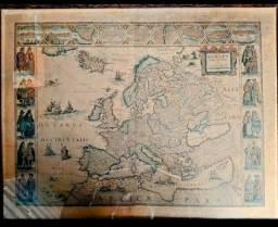 Título do anúncio: Dois mapas antigos  moldura de jacarandá e vidro