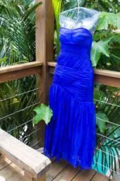 Vestido de festa azul caneta