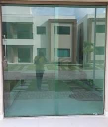 Porta de vidro verde 220x200 - 2 folhas