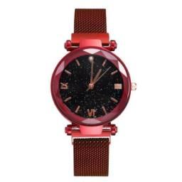Relógio feminino de pulso Quartz Luxo Vermelho