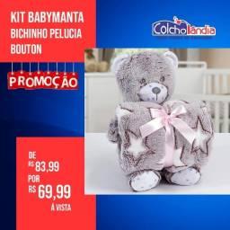 Kit manta de bebê com ursinho de pelúcia apenas 69,99 à vista