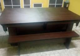 Mesa de 4 Pés Laterais com Tecido Verde Cor Tabaco Mod OWMI3842