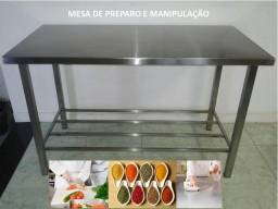 Mesa inox 140x070 manipulação e preparo - pronta entrega