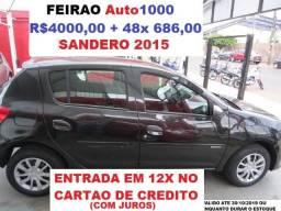 Sandero 1.0 2015 Ar, Dh, TE, Alarme, LT, DT. R$4000,00 +48x 686,00. - 2015