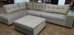 Sofa Atenas Com Chaeese + Puff Tamanho 3,32 x 2,10