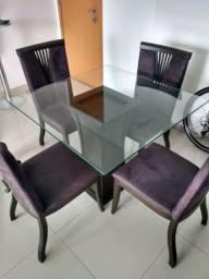 Mesa 4 cadeiras madeira maciça tampo de vidro