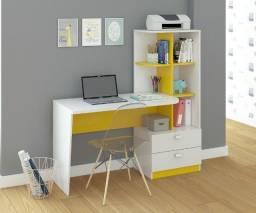 Escrivaninha Branco/Amarela Permóbili Movéis